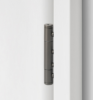 3-part wooden door hinge in the surface cashmere grey, shown in a white wooden door frame