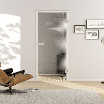 Living situation with shows the GRIFFWERK glass door Dots_LD_661 laser one side in the version revolving door - DIN right - studio / office - tempered safety glass PURE WHITE