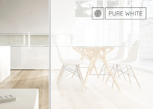 Pure White glass doors by Griffwerk remains colour neutral.