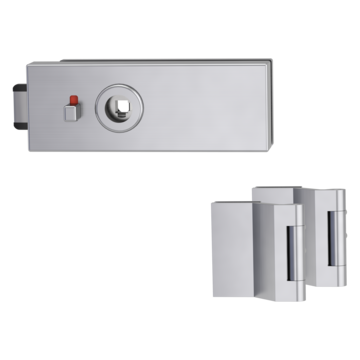Silhouette product image in perfect product view shows the GRIFFWERK glass door fitting PURISTO S in the version WC lock - stainless steel matte - 3-part hinge studio/office