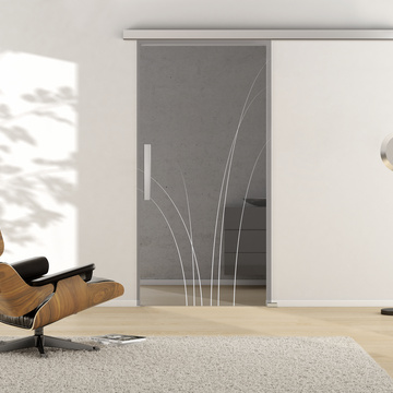Ambient image in living situation illustrates the Griffwerks glass door NATURE_LD_660  in the version TSG MOON GREY clear