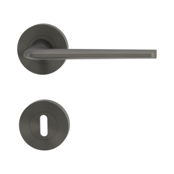 Isolated product image in perfect product view shows the GRIFFWERK rose set REMOTE in the version mortice lock - cashmere grey - screw on technique