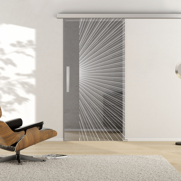 Ambient image in living situation illustrates the Griffwerks glass door LINES_LD_650  in the version TSG MOON GREY clear