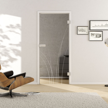 Living situation with shows the GRIFFWERK glass door Nature_LD_660 laser one side in the version revolving door - DIN right - studio / office - tempered safety glass PURE WHITE