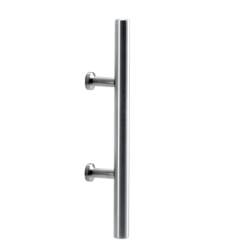 Silhouette product image in perfect product view shows the GRIFFWERK grip rod one sided ELEGANZA in the version for glass 8-12mm/wood 38-45mm - stainless steel mat - screw-on technique - aluminum mat stainless steel optic
