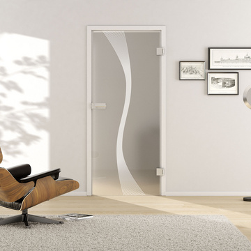 Living situation with shows the GRIFFWERK glass door Deco_LD_583 laser two sides in the version revolving door - DIN right - studio / office - tempered safety glass PURE WHITE