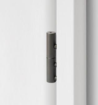 2-part wooden door hinge in the surface cashmere grey, shown in a white wooden door frame