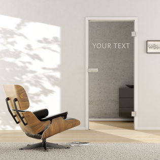 Living situation shows the GRIFFWERK glass door Typo_LD_681 in the version revolving door - DIN right - studio / office - tempered safety glass PURE WHITE, laser one side