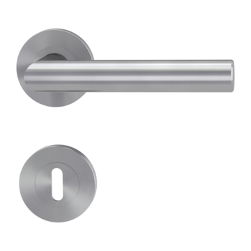 Isolated product image in perfect product view shows the GRIFFWERK rose set LUCIA PROF in the version mortice lock - brushed steel - screw on technique