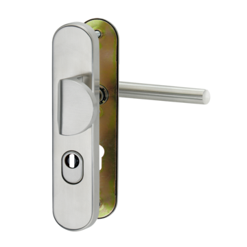 Silhouette product image in perfect product view shows the GRIFFWERK security fitting TITANO SB_886 in the version cylinder cover - stainless steel mat - shield/shield