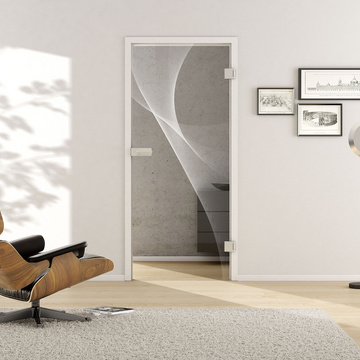 Living situation with shows the GRIFFWERK glass door 3D_LD_623 laser one side in the version revolving door - DIN right - studio / office - tempered safety glass PURE WHITE
