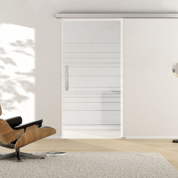 Ambient image in living situation illustrates the Griffwerks glass door SNOWWHITE_501  in the version TSG PURE WHITE matt