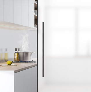 The new, innovative sliding door system seals against vapours and odours and is therefore ideal for kitchen and bathroom.