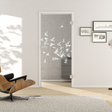 Living situation with shows the GRIFFWERK glass door BIRDS & BIRD_LD_695 laser one side in the version revolving door - DIN right - studio/office - tempered safety glass PURE WHITE