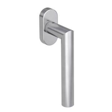 Silhouette product image in perfect product view shows the Griffwerk window handle LUCIA PROF in the version unlockable, brushed steel