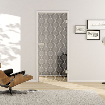 Living situation with shows the GRIFFWERK glass door Deco_LD_655 laser one side in the version revolving door - DIN right - studio / office - tempered safety glass PURE WHITE