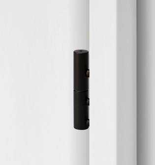 2-part wooden door hinge in the surface graphite black, shown in a white wooden door frame