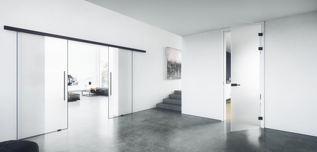 PLANEO AIR glass door system by GRIFFWERK is now also available as a double-leaf version.