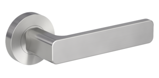 Isolated product image in the right-turned angle shows the GRIFFWERK rose set MINIMAL MODERN in the version mortice lock - velvet grey - screw on technique