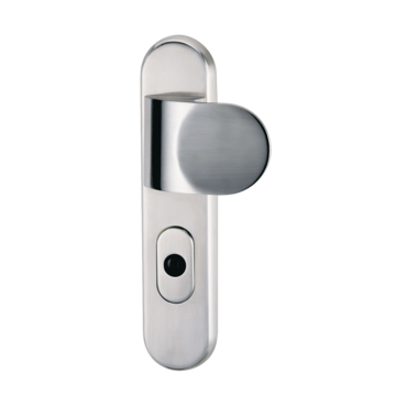 Silhouette product image in perfect product view shows the GRIFFWERK combined security fitting TITANO SB_880 in the version / version left/right , norm 72mm - stainless steel mat - shield/handle