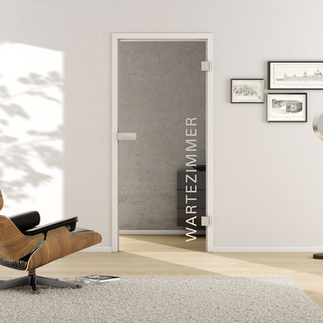 Living situation with shows the GRIFFWERK glass door Typo_LD_554 laser one side in the version revolving door - DIN right - studio / office - tempered safety glass PURE WHITE