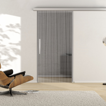 Ambient image in living situation illustrates the Griffwerks glass door LINES_LD_651  in the version TSG MOON GREY clear