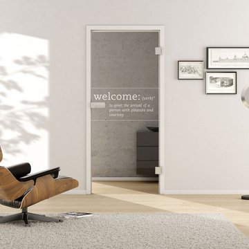 Living situation with shows the GRIFFWERK glass door Typo_LD_667 laser one side in the version revolving door - DIN right - studio / office - tempered safety glass PURE WHITE