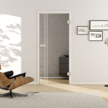 Living situation with shows the GRIFFWERK glass door Lines_LD_654 laser one side in the version revolving door - DIN right - studio / office - tempered safety glass PURE WHITE