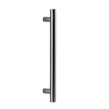 Silhouette product image in perfect product view shows the GRIFFWERK grip rod pair RONDO in the version for glass 8-12mm/wood 38-45mm - stainless steel mat - screw-on technique - aluminum mat stainless steel optic