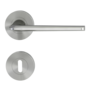 Isolated product image in perfect product view shows the GRIFFWERK rose set REMOTE in the version mortice lock - velvet grey - screw on technique
