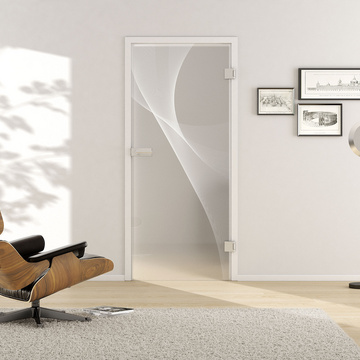 Living situation with shows the GRIFFWERK glass door 3D_LD_623 laser two sides in the version revolving door - DIN right - studio / office - tempered safety glass PURE WHITE